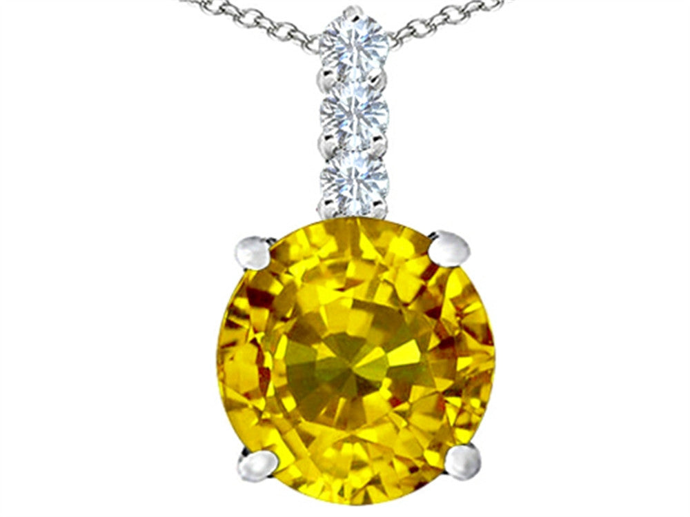 Star K 12mm Round Simulated Citrine Pendant Necklace Sterling Silver