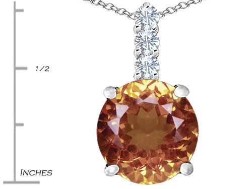 Star K 12mm Round Simulated Imperial Yellow Topaz Pendant Necklace Sterling Silver