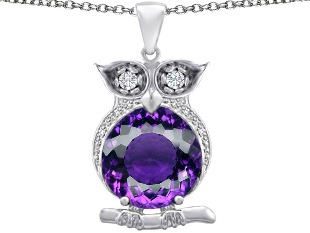 Star K 10mm Round Simulated Amethyst Good Luck Owl Pendant Necklace Sterling Silver