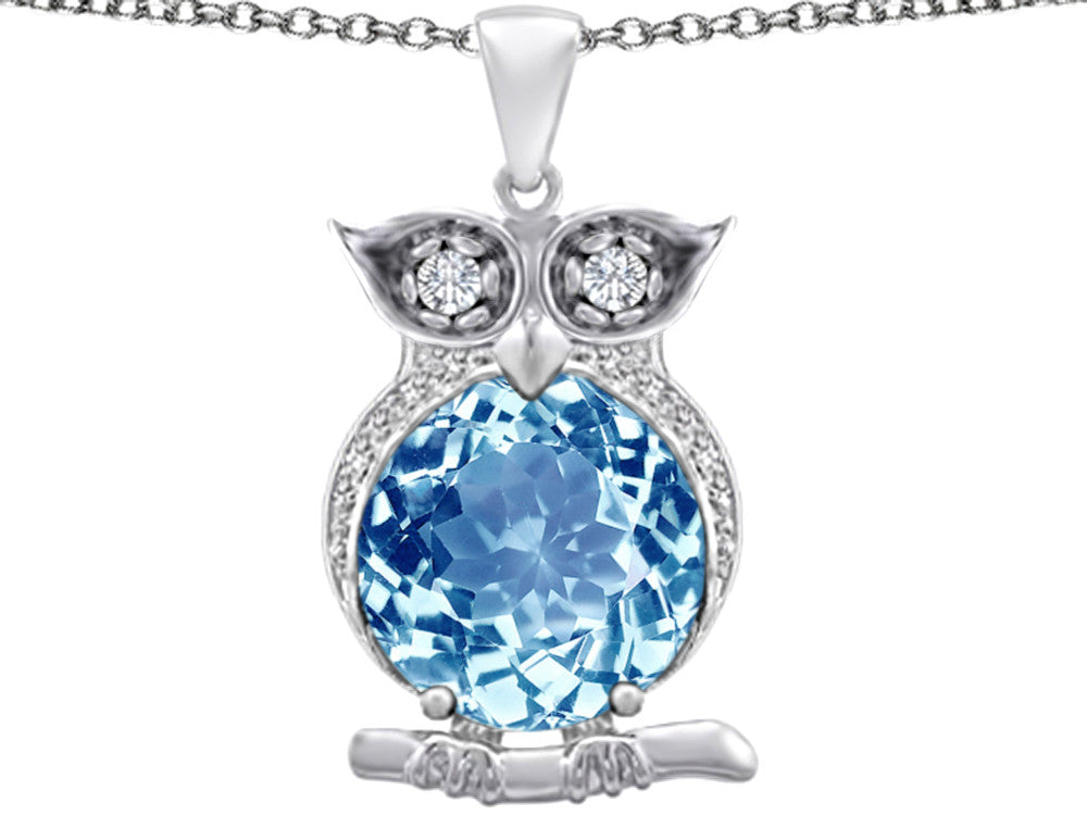 Star K 10mm Round Simulated Aquamarine Good Luck Owl Pendant Necklace Sterling Silver
