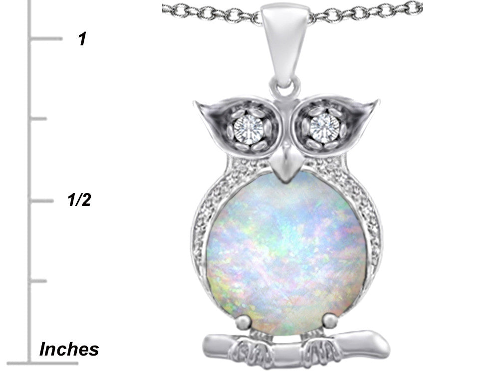 Star K 10mm Round Created White Opal and Cubic Zironia Good Luck Owl Pendant Necklace Sterling Silver
