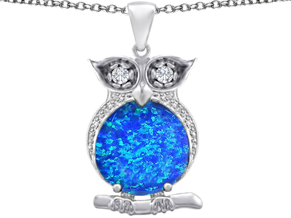 Star K 10mm Round Blue Created Opal Good Luck Owl Pendant Necklace Sterling Silver