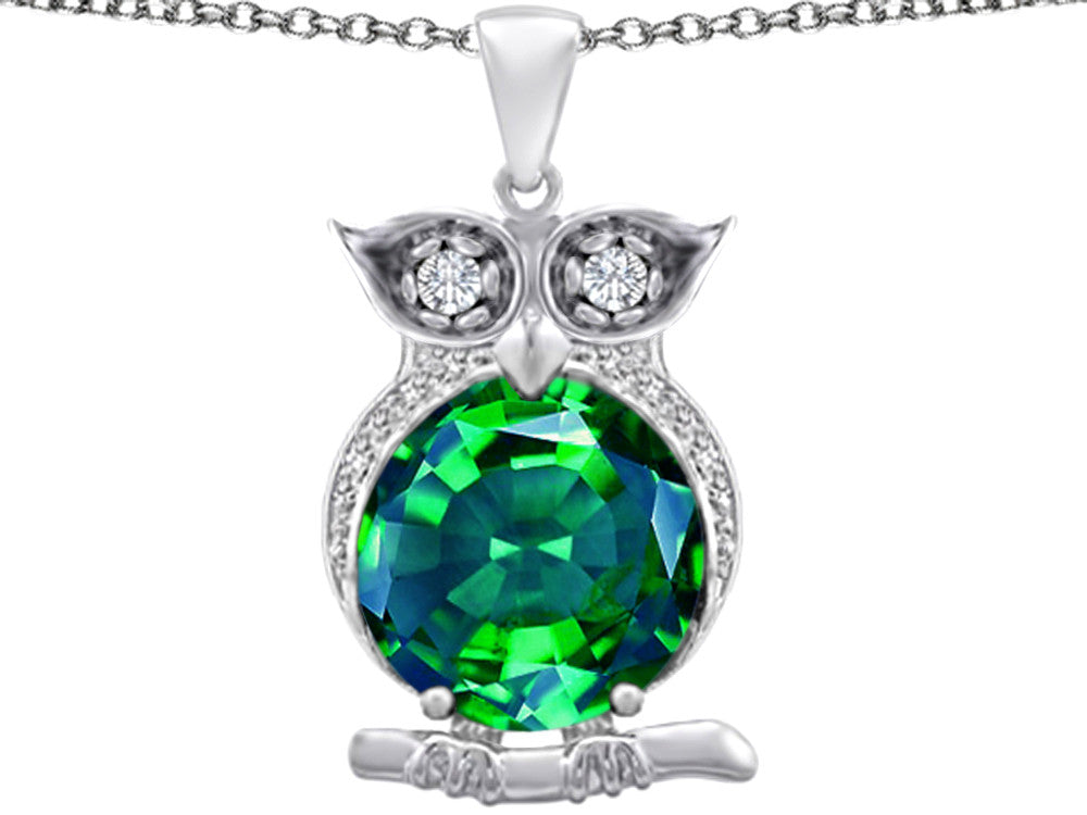 Star K 10mm Round Simulated Emerald Good Luck Owl Pendant Necklace Sterling Silver