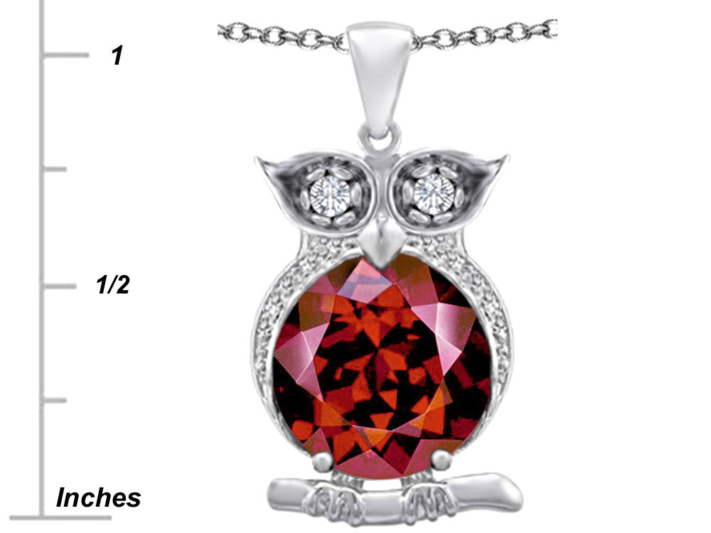Star K 10mm Round Simulated Garnet Good Luck Owl Pendant Necklace Sterling Silver