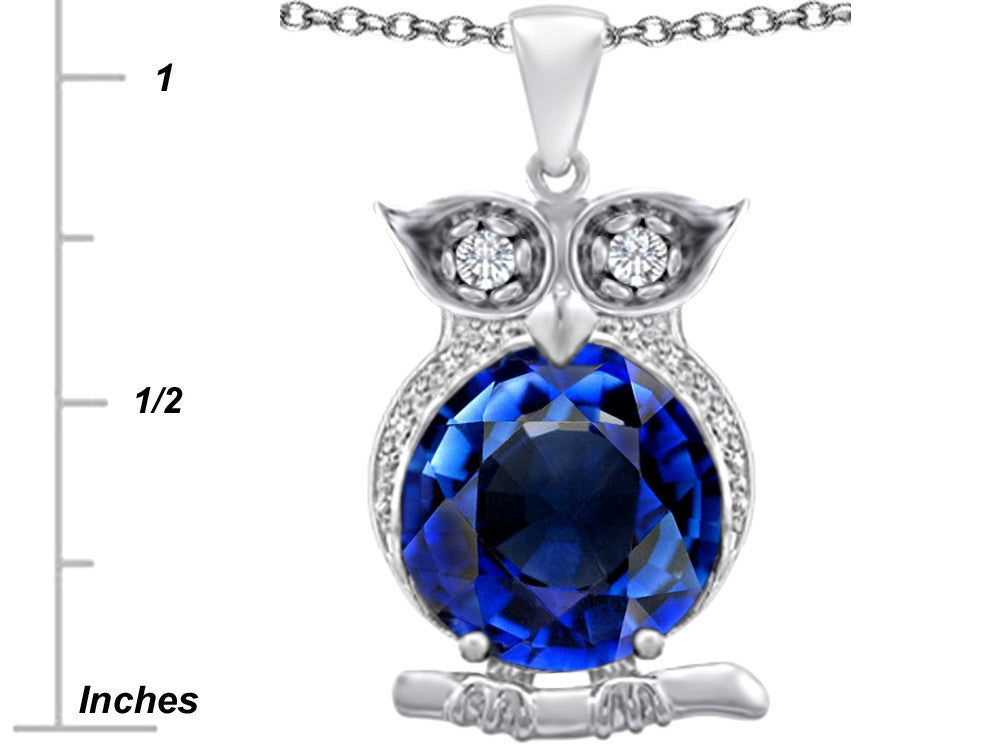Star K 10mm Round Created Sapphire Good Luck Owl Pendant Necklace Sterling Silver