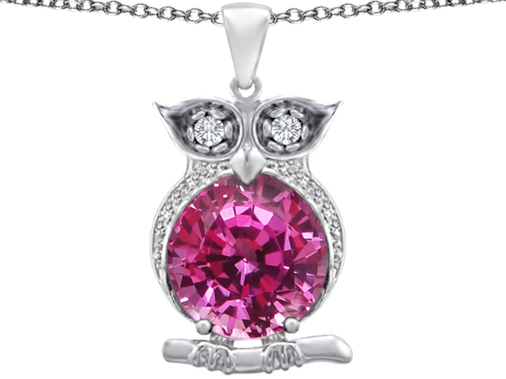 Star K 10mm Round Created Pink Sapphire Good luck Owl Pendant Necklace Sterling Silver