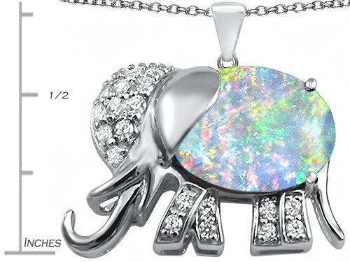 Star K 12x10mm Oval Created Opal Good Luck Elephant Pendant Necklace Sterling Silver