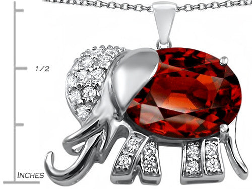 Star K 12x10mm Oval Simulated Garnet Good Luck Elephant Pendant Necklace Sterling Silver