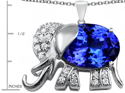 Star K 12x10mm Oval Simulated Tanzanite Good Luck Elephant Pendant Necklace Sterling Silver
