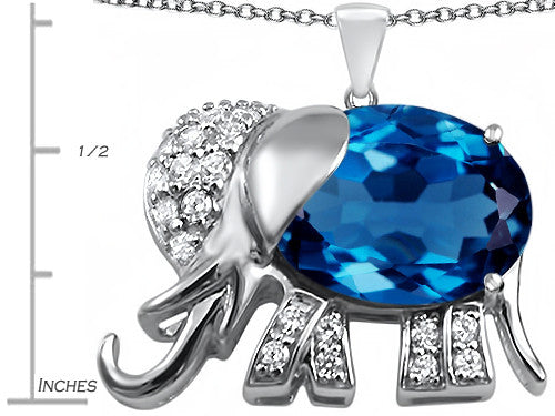 Star K 12x10mm Oval Simulated Blue-Topaz Good Luck Elephant Pendant Necklace Sterling Silver