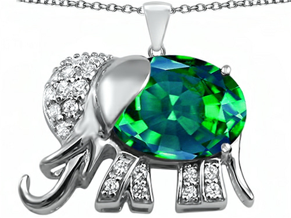 Star K 12x10mm Oval Simulated Emerald Good Luck Elephant Pendant Necklace Sterling Silver