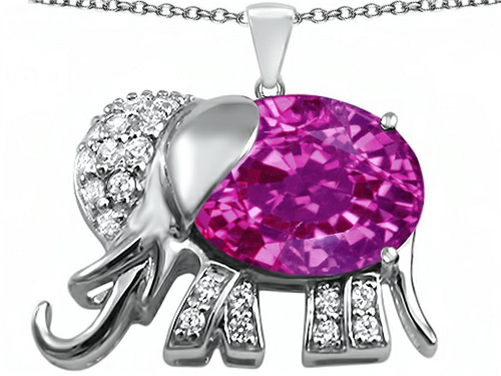 Star K 12x10mm Oval Created Pink Sapphire Good Luck Elephant Pendant Necklace Sterling Silver