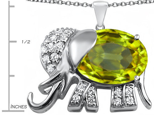 Star K 12x10mm Oval Simulated Peridot and Cubic Zirconia Good Luck Elephant Pendant Necklace Sterling Silver