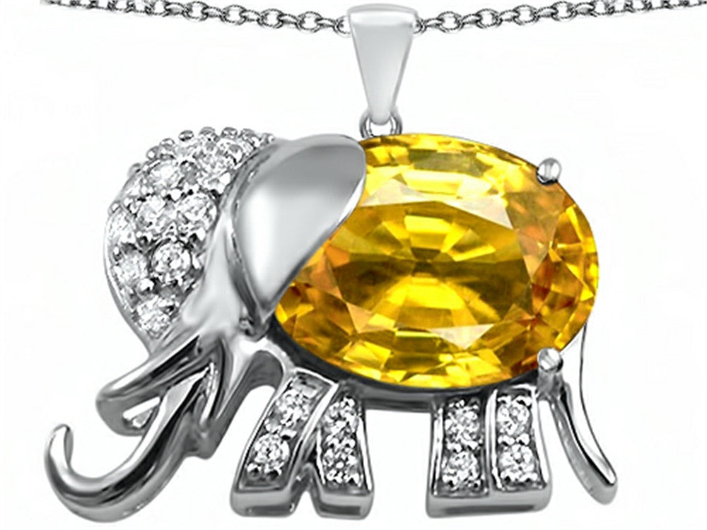 Star K 12x10mm Oval Simulated Citrine Good Luck Elephant Pendant Necklace Sterling Silver
