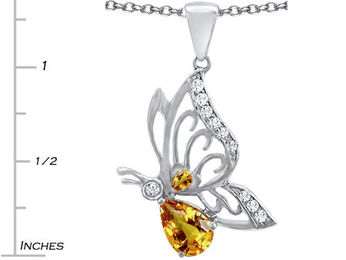 Star K Butterfly Pendant Necklace with 9x6mm Pear Shape Simulated Citrine Sterling Silver