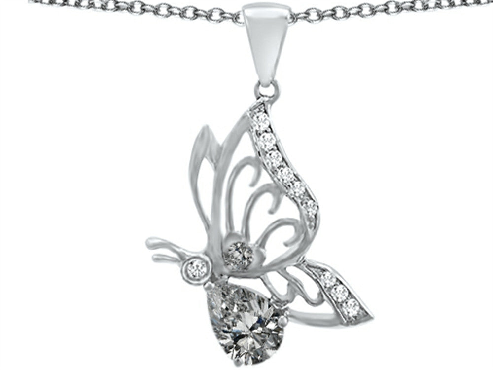 Star K Butterfly Pendant Necklace with 9x6mm Pear Shape Genuine White Topaz Sterling Silver