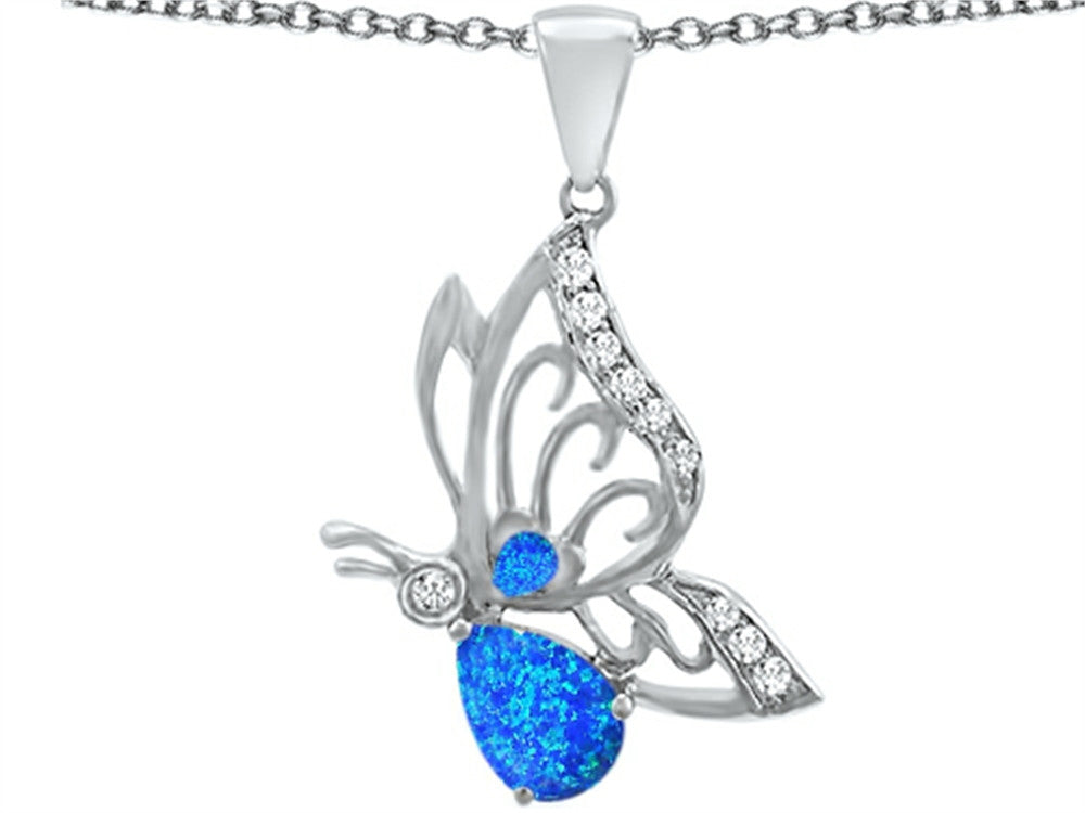 Star K Butterfly Pendant Necklace with 9x6mm Pear Shape Blue Created Opal Sterling Silver