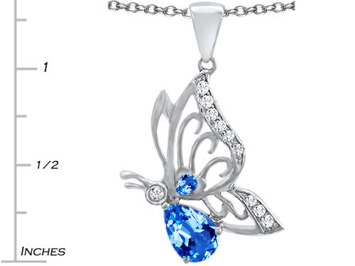 Star K Butterfly Pendant Necklace with 9x6mm Pear Shape Simulated Blue-Topaz Sterling Silver