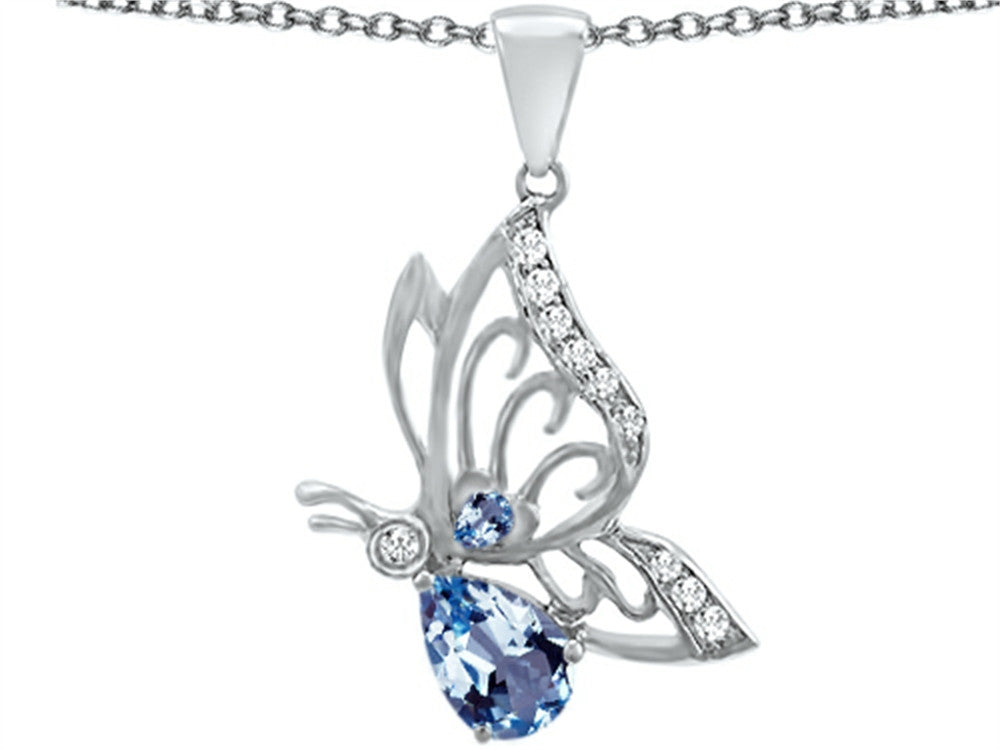Star K Butterfly Pendant Necklace with 9x6mm Pear Shape Simulated Aquamarine Sterling Silver