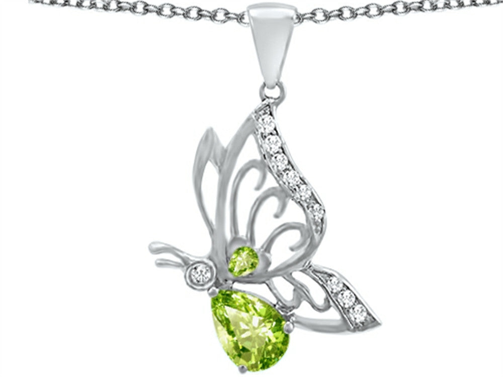 Star K Butterfly Pendant Necklace with 9x6mm Pear Shape Simulated Peridot and Cubic Zirconia Sterling Silver