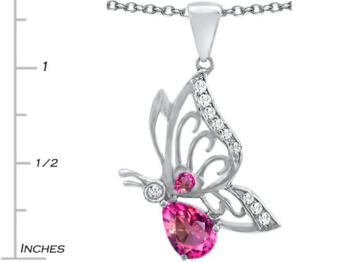 Star K Butterfly Pendant Necklace with 9x6mm Pear Shape Created Pink Sapphire Sterling Silver