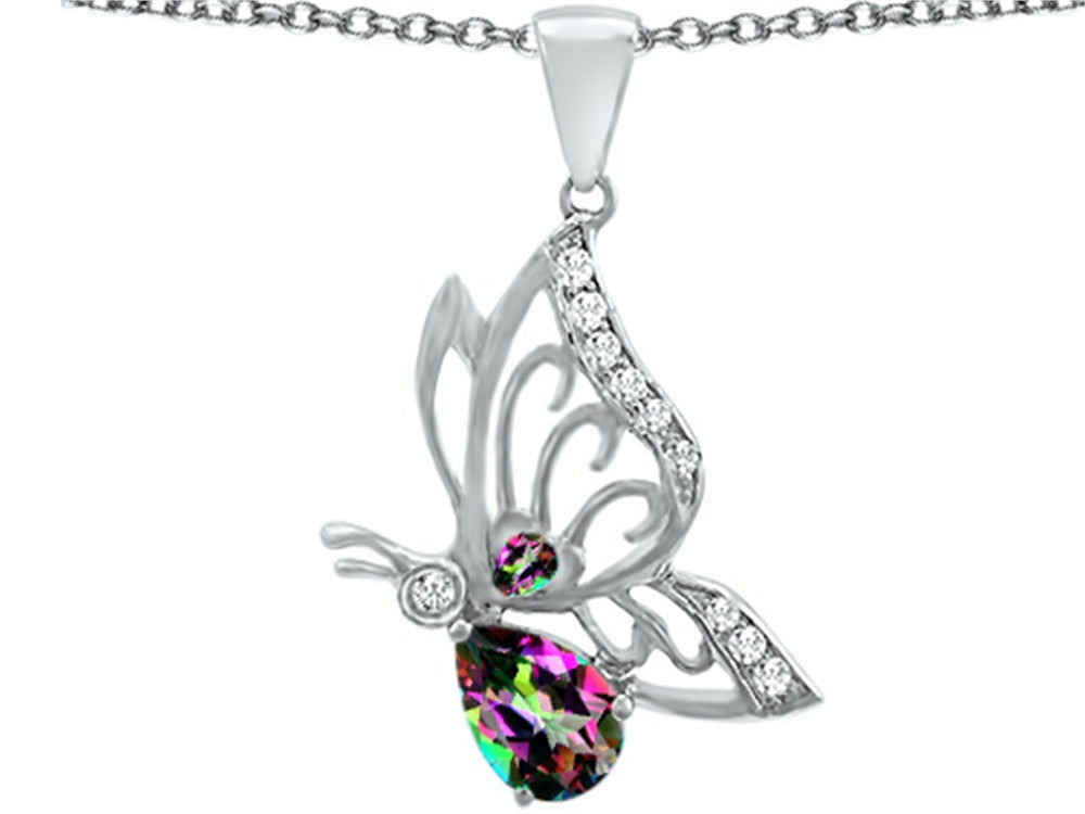 Star K Butterfly Pendant Necklace with 9x6mm Pear Shape Rainbow Mystic Topaz Sterling Silver