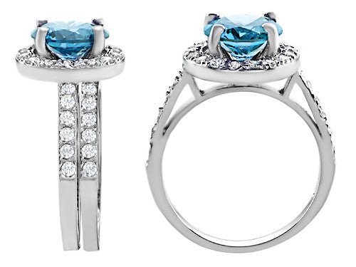 Star K 8mm Round Simulated Blue-Topaz Wedding Set Sterling Silver Size 8