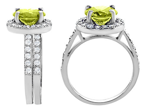 Star K 8mm Round Simulated Peridot Wedding Set Sterling Silver Size 8