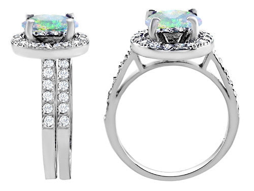 Star K 8mm Round Simulated Opal Wedding Set Sterling Silver Size 8