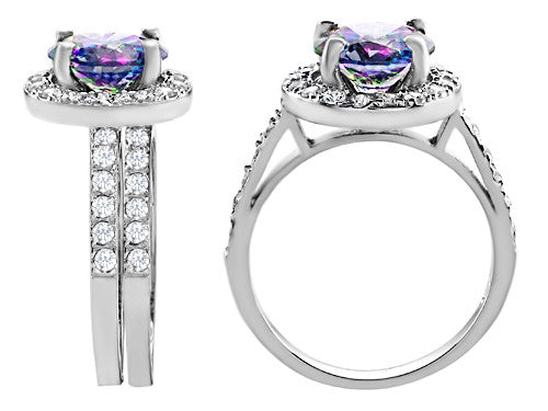 Star K 8mm Round Rainbow Mystic Topaz Wedding Set Sterling Silver Size 8
