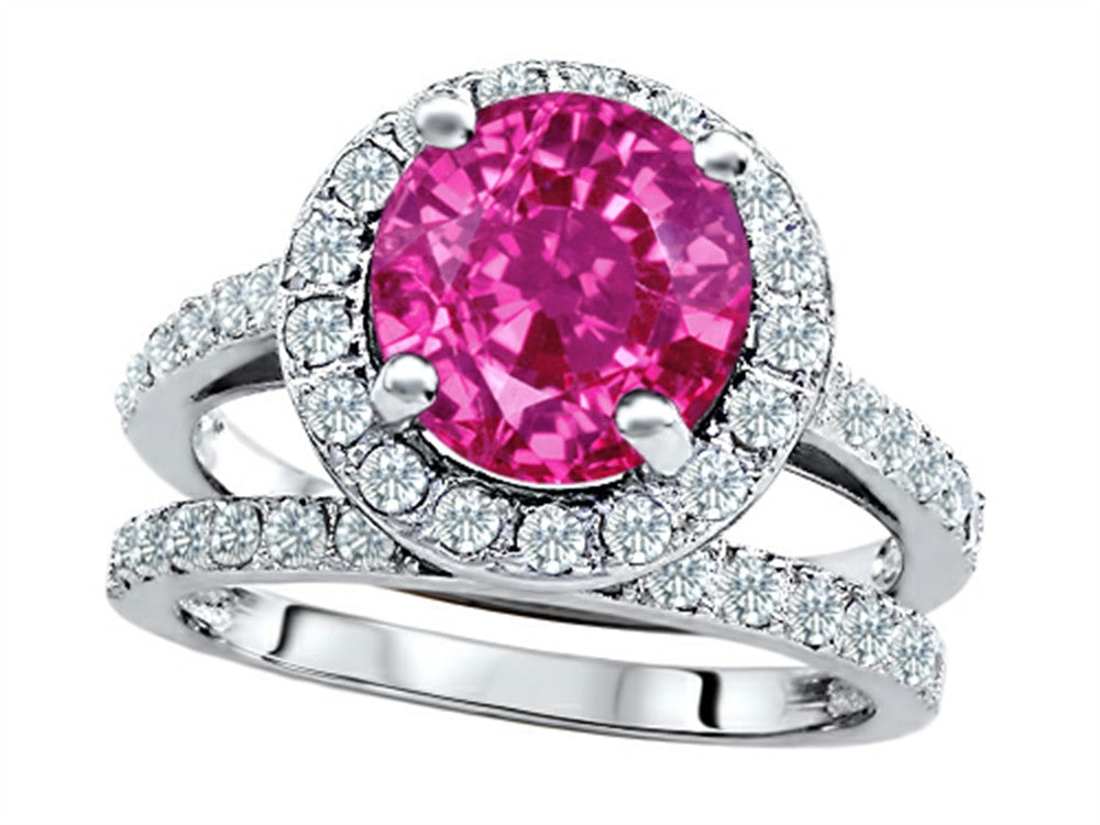 Star K 8mm Round Created Pink Sapphire Wedding Set Sterling Silver Size 8