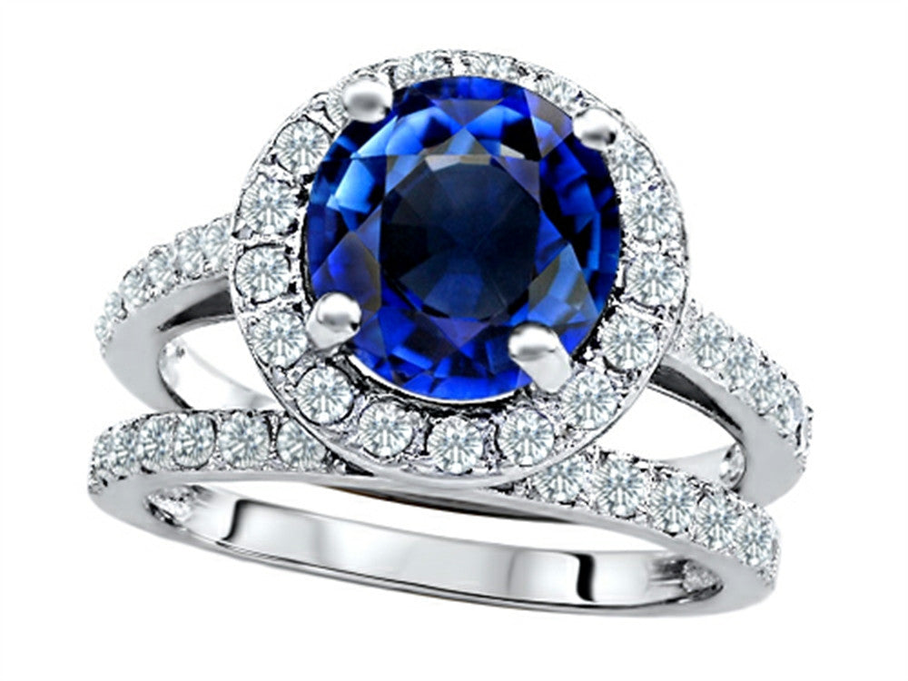 Star K 8mm Round Created Sapphire Wedding Set Sterling Silver Size 8