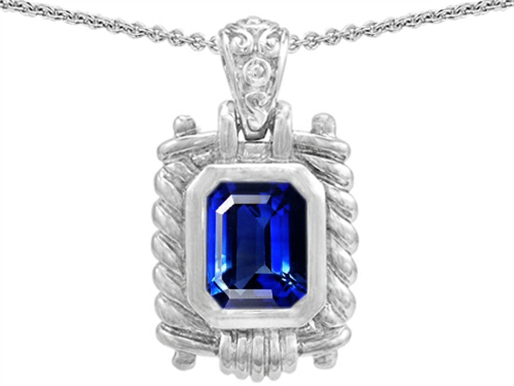 Star K Bali Style Emerald Cut Created Sapphire Pendant Necklace Sterling Silver