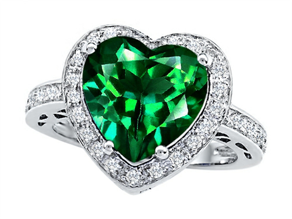 Star K 10mm Heart-Shape Simulated Emerald Wedding Ring Sterling Silver Size 8