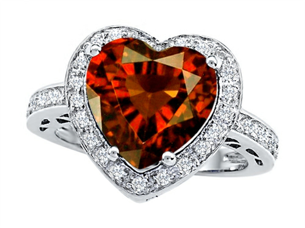 Star K 10mm Heart-Shape Simulated Garnet Wedding Ring Sterling Silver Size 8