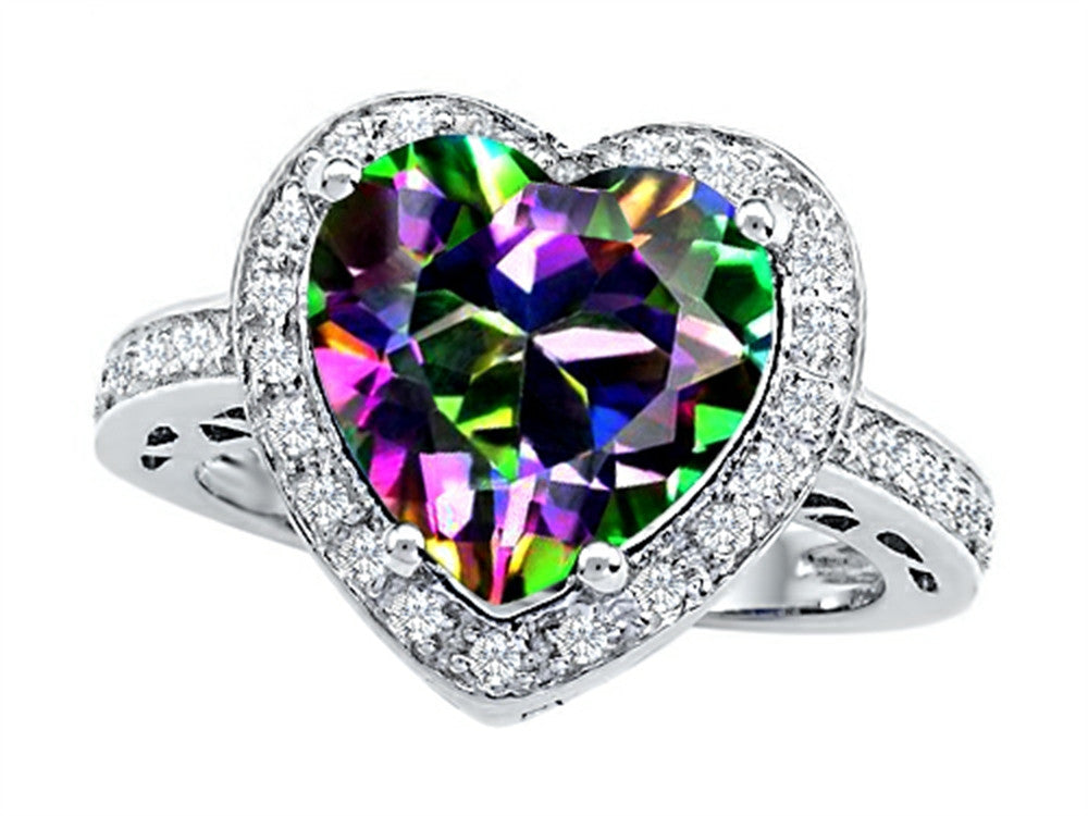 Star K 10mm Heart-Shape Rainbow Mystic Topaz Wedding Ring Sterling Silver Size 8