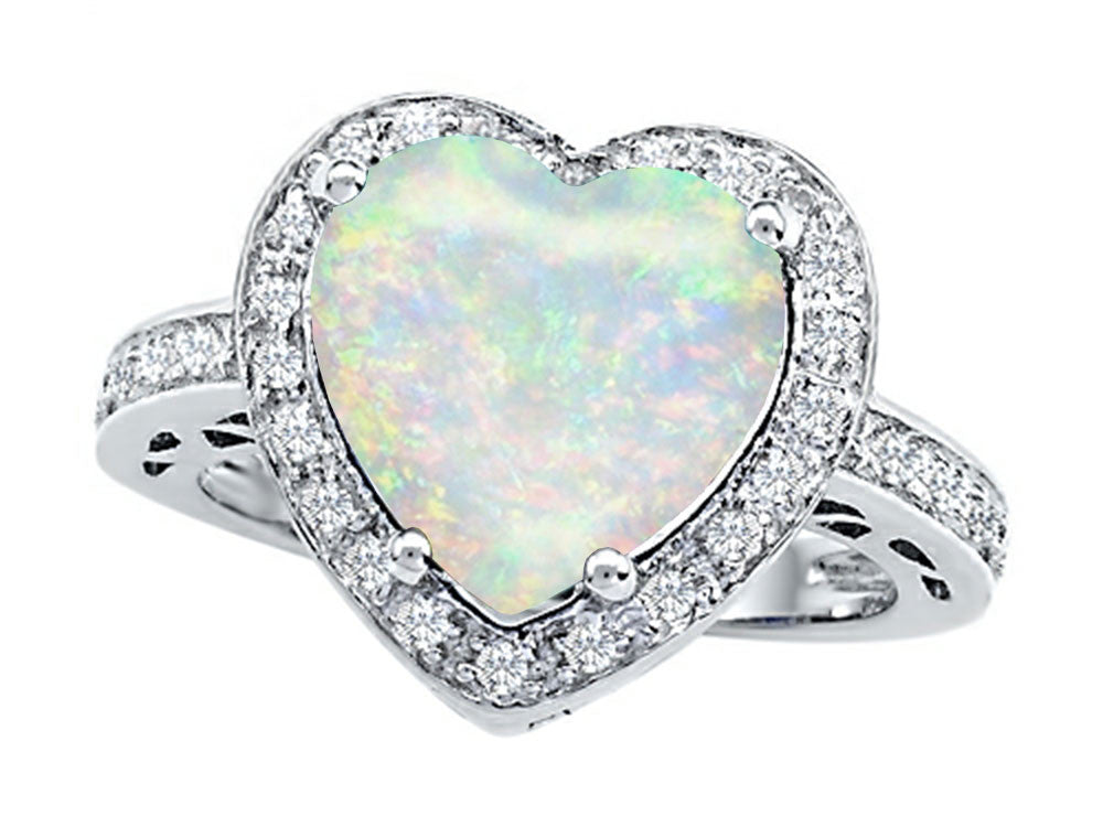 Star K 10mm Heart-Shape Simulated Opal Wedding Ring Sterling Silver Size 8
