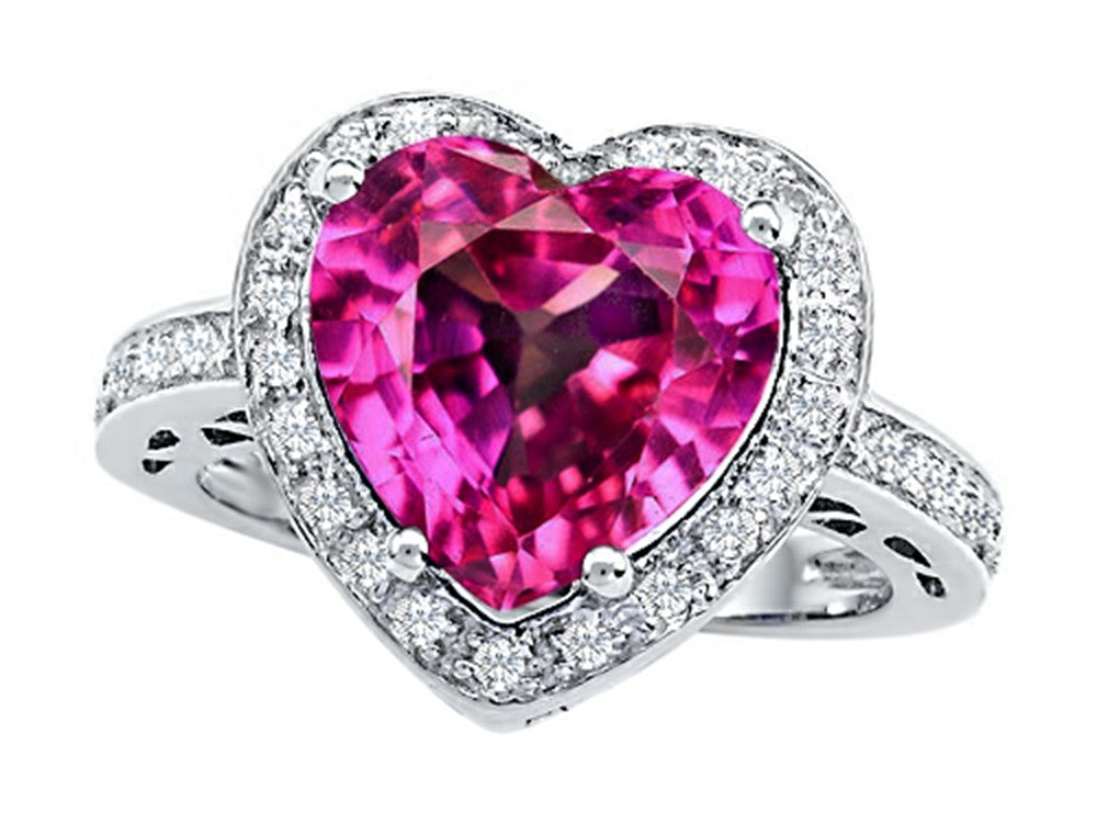 Star K 10mm Heart-Shape Created Pink Sapphire Wedding Ring Sterling Silver Size 8