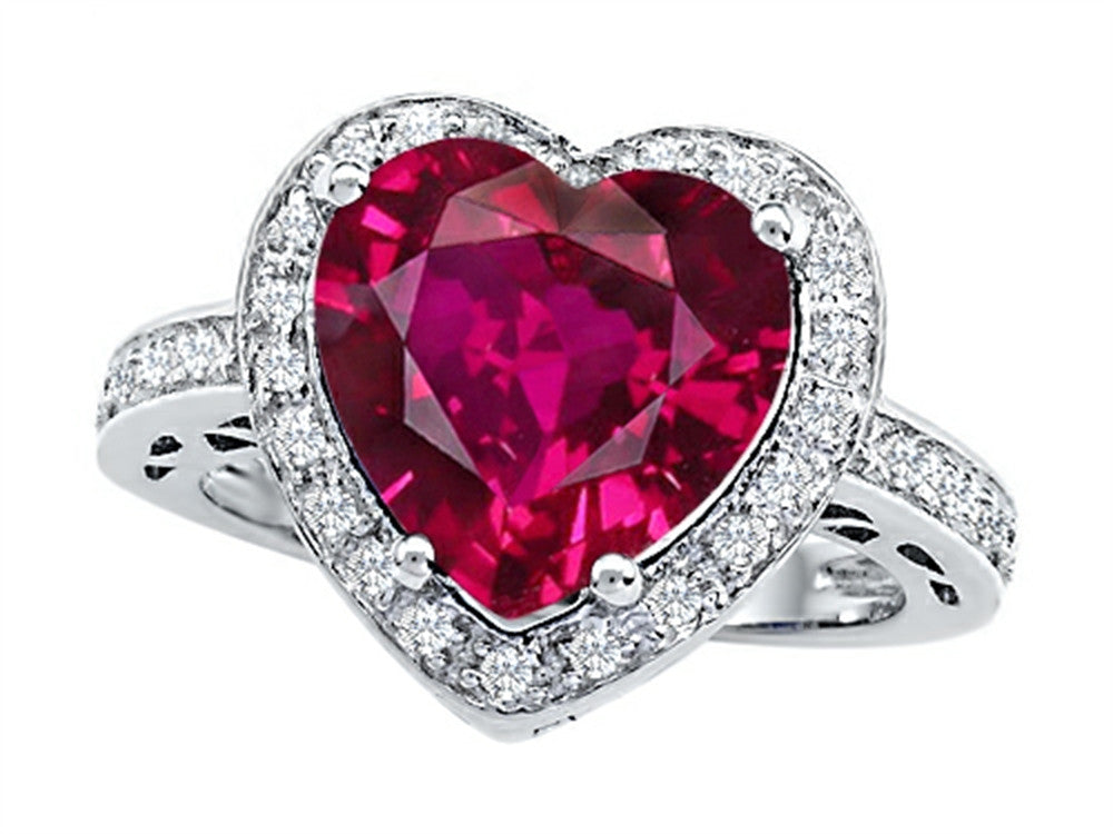 Star K 10mm Heart-Shape Created Ruby Wedding Ring Sterling Silver Size 8