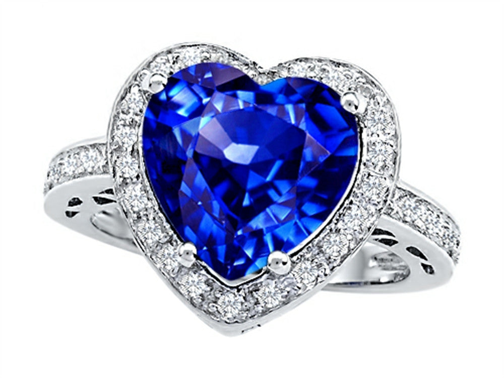 Star K 10mm Heart-Shape Simulated Tanzanite Wedding Ring Sterling Silver Size 8