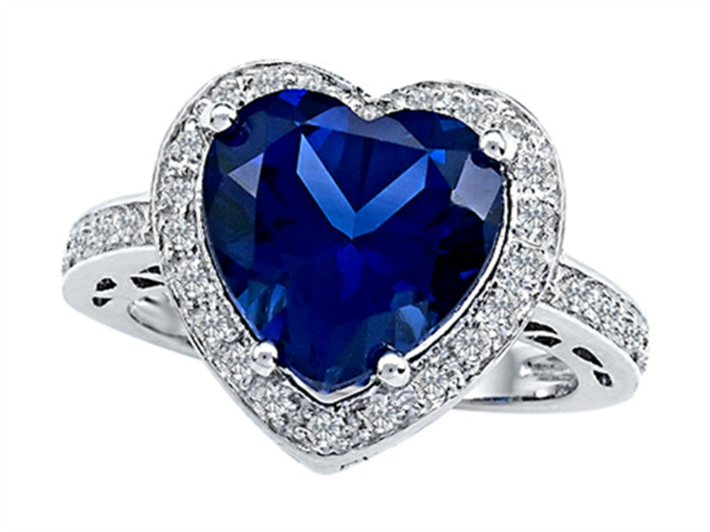 Star K 10mm Heart-Shape Created Sapphire Wedding Ring Sterling Silver Size 8