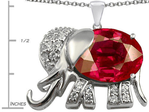 Star K 12x10mm Oval Created Ruby Good Luck Elephant Pendant Necklace Sterling Silver
