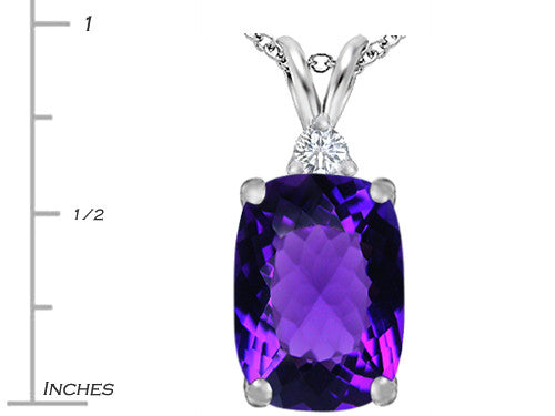 Star K Cushion Cut Simulated Amethyst Pendant Necklace Sterling Silver