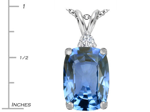 Star K Cushion Cut Simulated Aquamarine Pendant Necklace Sterling Silver