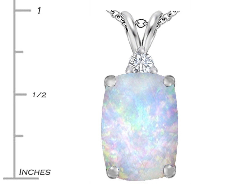 Star K Cushion Cut Created Opal Pendant Necklace Sterling Silver