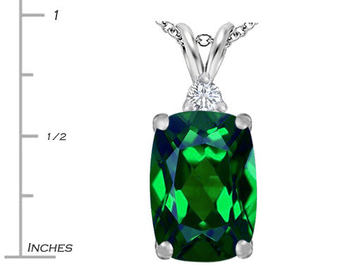 Star K Cushion Cut Simulated Emerald Pendant Necklace Sterling Silver