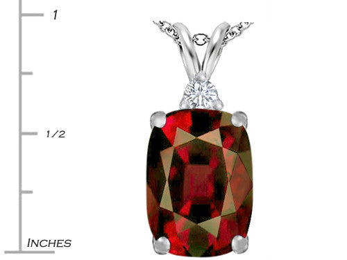 Star K Cushion Cut Simulated Garnet Pendant Necklace Sterling Silver