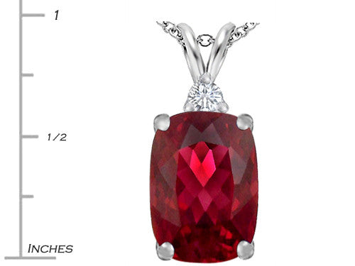 Star K Cushion Cut Created Ruby Pendant Necklace Sterling Silver
