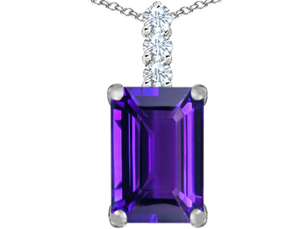 Star K Emerald Cut Simulated Amethyst Pendant Necklace Sterling Silver