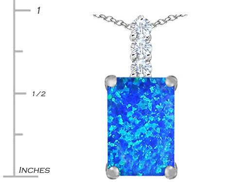 Star K Emerald Cut Blue Created Opal Pendant Necklace Sterling Silver